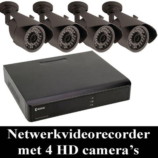 Netwerkvideorecorder met vier HD-camera's voor de beveiliging van allerlei gebouwen.