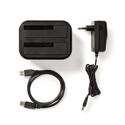 Harde Schijf-Dockingstation | USB 3.0 | SATA | Dual Bay | met Voedingsadapter