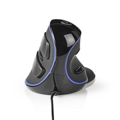 Ergonomische  bedrade muis   1600 dpi   6-Button   Zwart